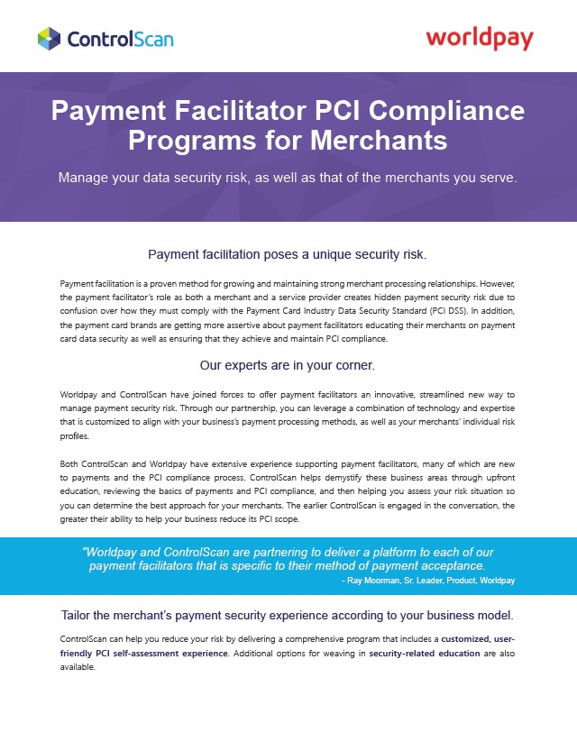 WorldPay Payment Facilitator PCI programs for merchants